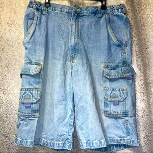 King Size Blue Jean Denim Cargo Shorts men's 40